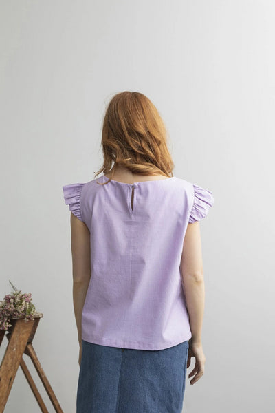 Petunia Frill Top Purple Shirts + tops The Fashion Advocate ethical Australian fashion designer boutique Melbourne sustainable clothes