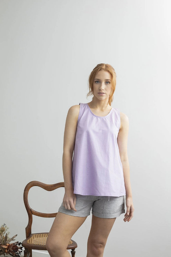 Hydrangea Singlet Top Purple Shirts + tops Ethical Sustainable Vegan Organic Australian fashion womens clothes