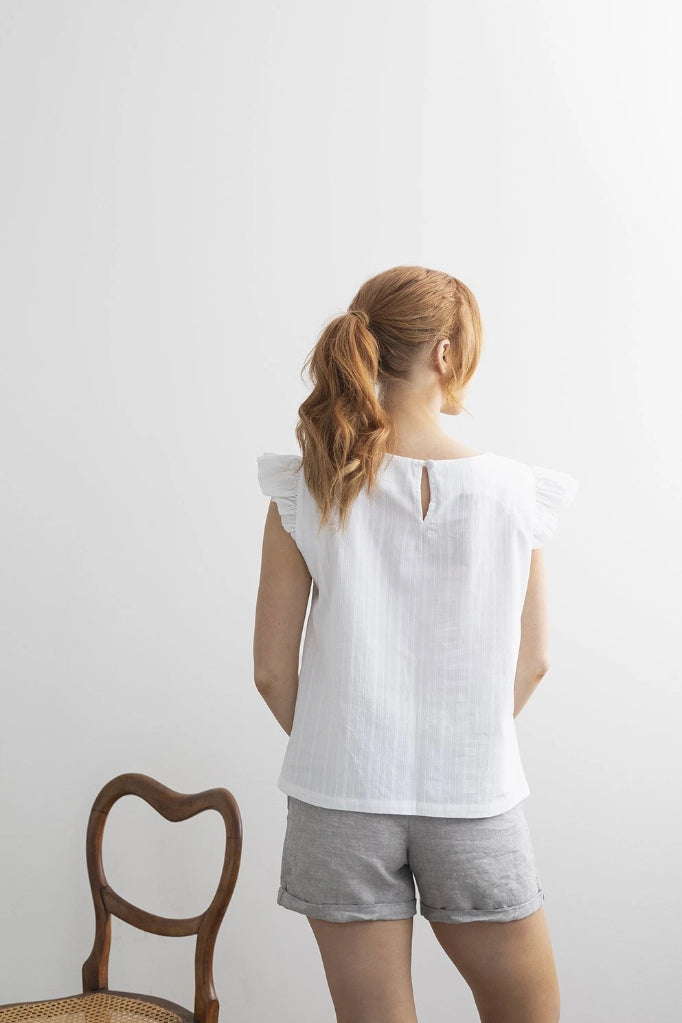 Petunia Frill Top White Shirts + tops The Fashion Advocate ethical Australian fashion designer boutique Melbourne sustainable clothes