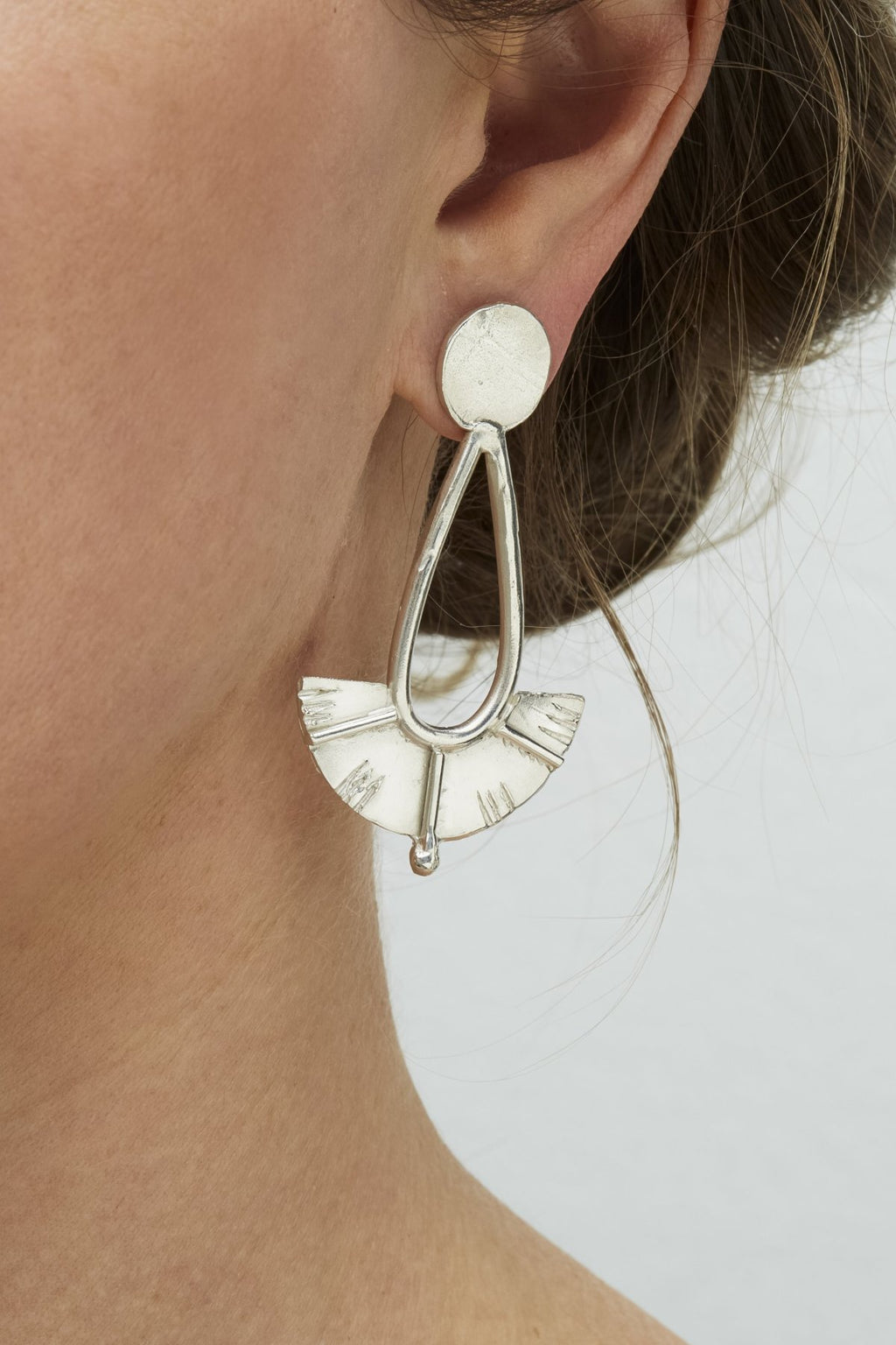 Silver Juno Drop Earrings Large-Meg Watson Jewellery-THE FASHION ADVOCATE-ethical sustainable Australian womens fashion online