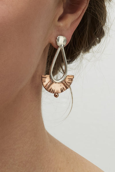 Silver and Bronze Juno Drop Earrings