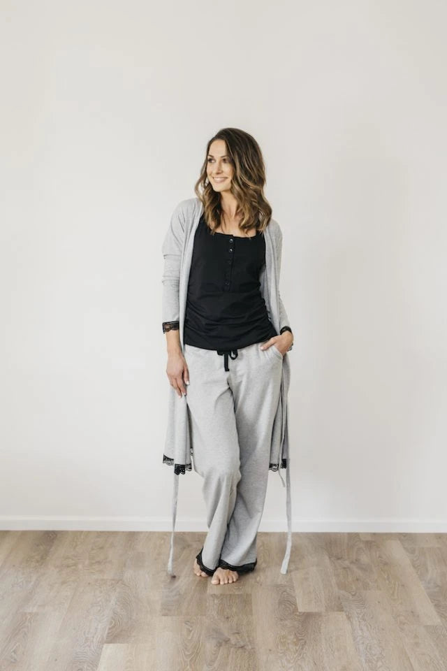 Grey Marle Organic Cotton Drawstring Pant Sleepwear Ethical Sustainable Vegan Organic Australian fashion womens clothes