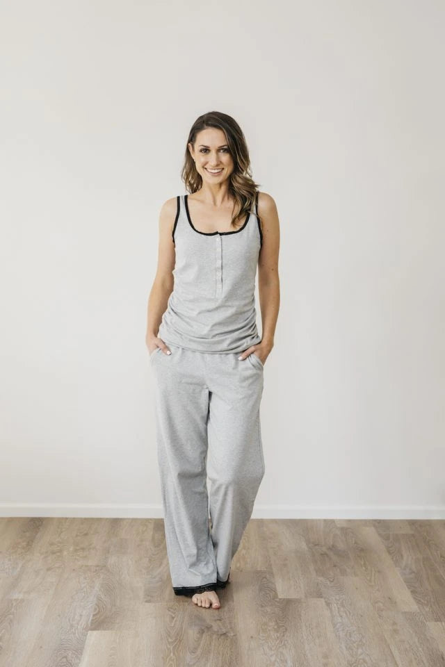 Grey Marle Organic Cotton Singlet Sleepwear Ethical Sustainable Vegan Organic Australian fashion womens clothes