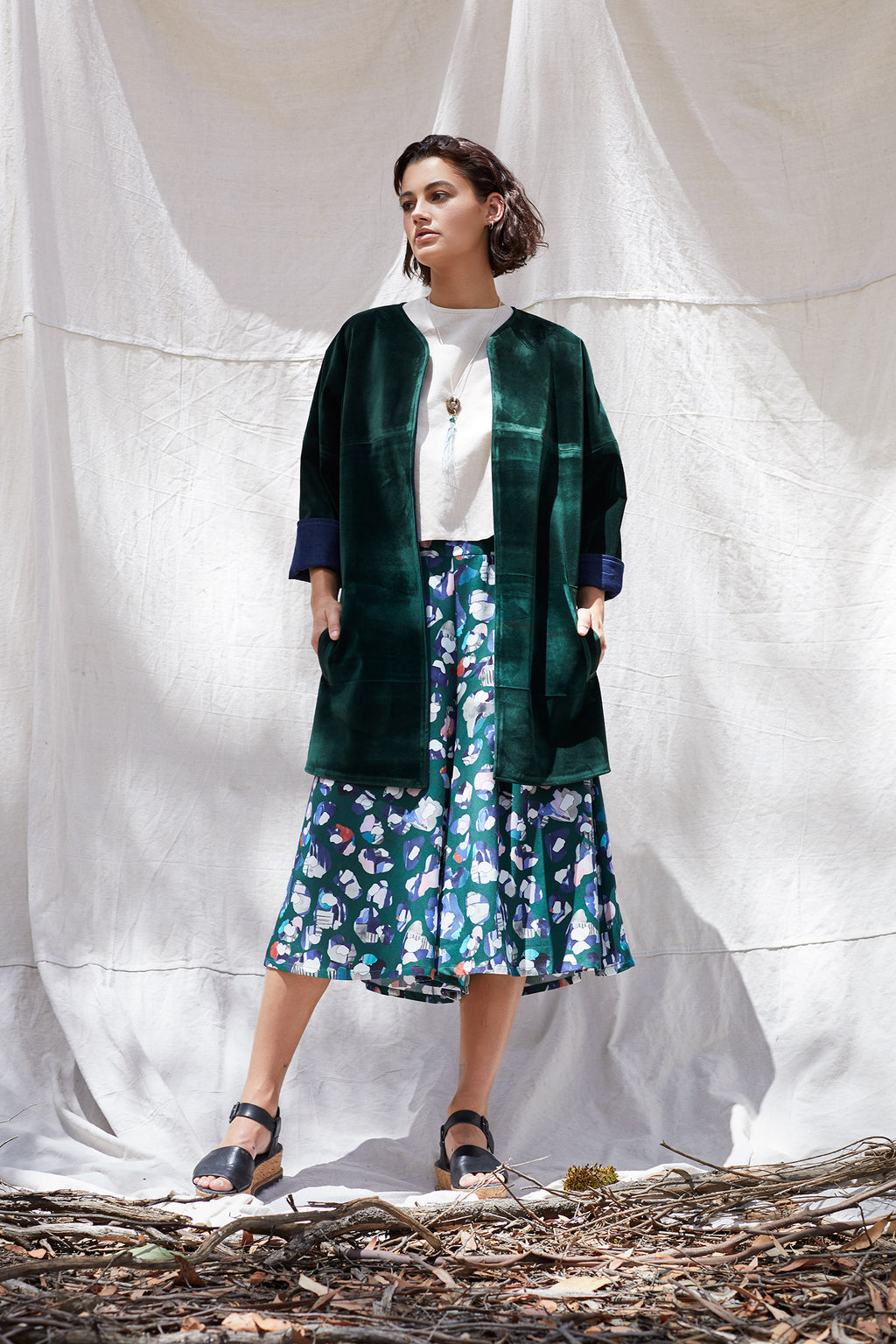Velvet Forest Ms Hall Coat-Wolf & Mishka-THE FASHION ADVOCATE-ethical sustainable Australian womens fashion online
