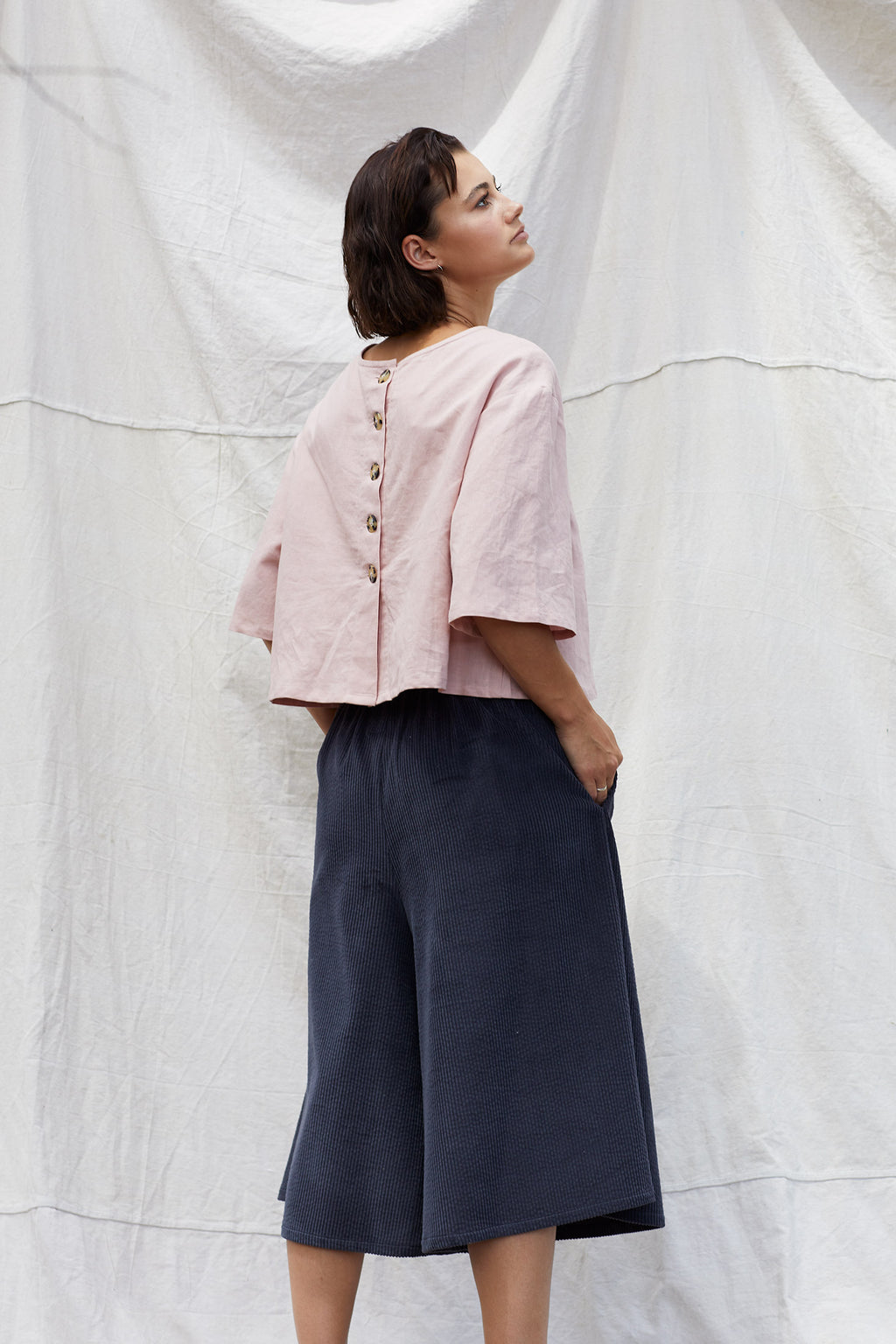 Navy Olesya Culotte-Wolf & Mishka-THE FASHION ADVOCATE-ethical sustainable Australian womens fashion online