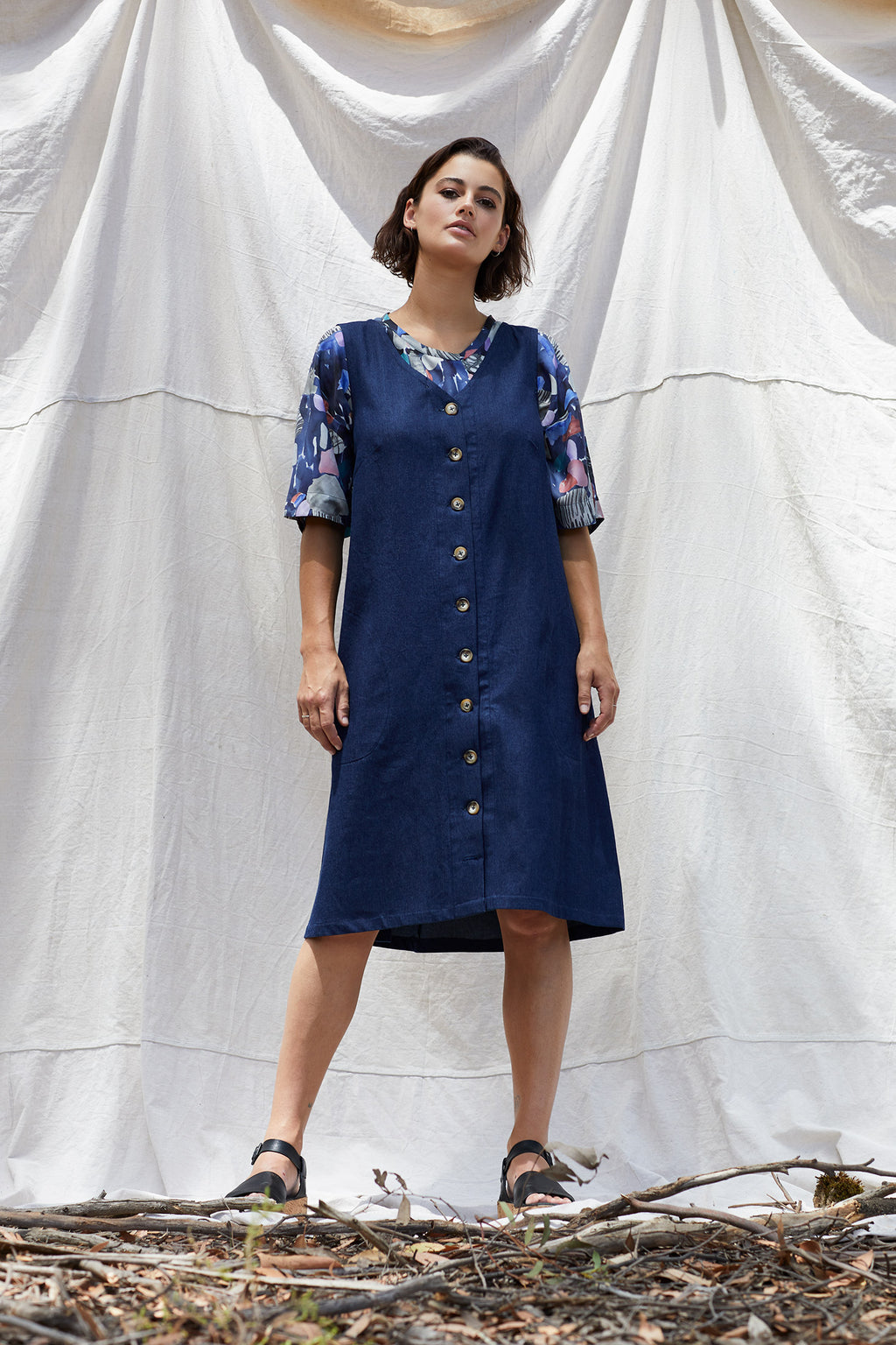 Denim Lottie Dress Dresses Ethical Sustainable Vegan Organic Australian fashion womens clothes