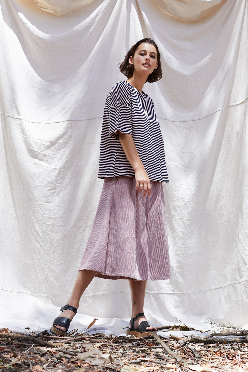 Blushing Stripe Camp Cedar Tee Shirts + tops The Fashion Advocate ethical Australian fashion designer boutique Melbourne sustainable clothes