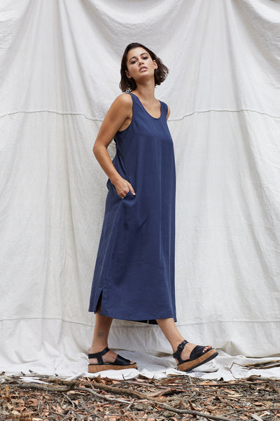 Blue Steel Matilda Dress Dress The Fashion Advocate ethical Australian fashion designer boutique Melbourne sustainable clothes