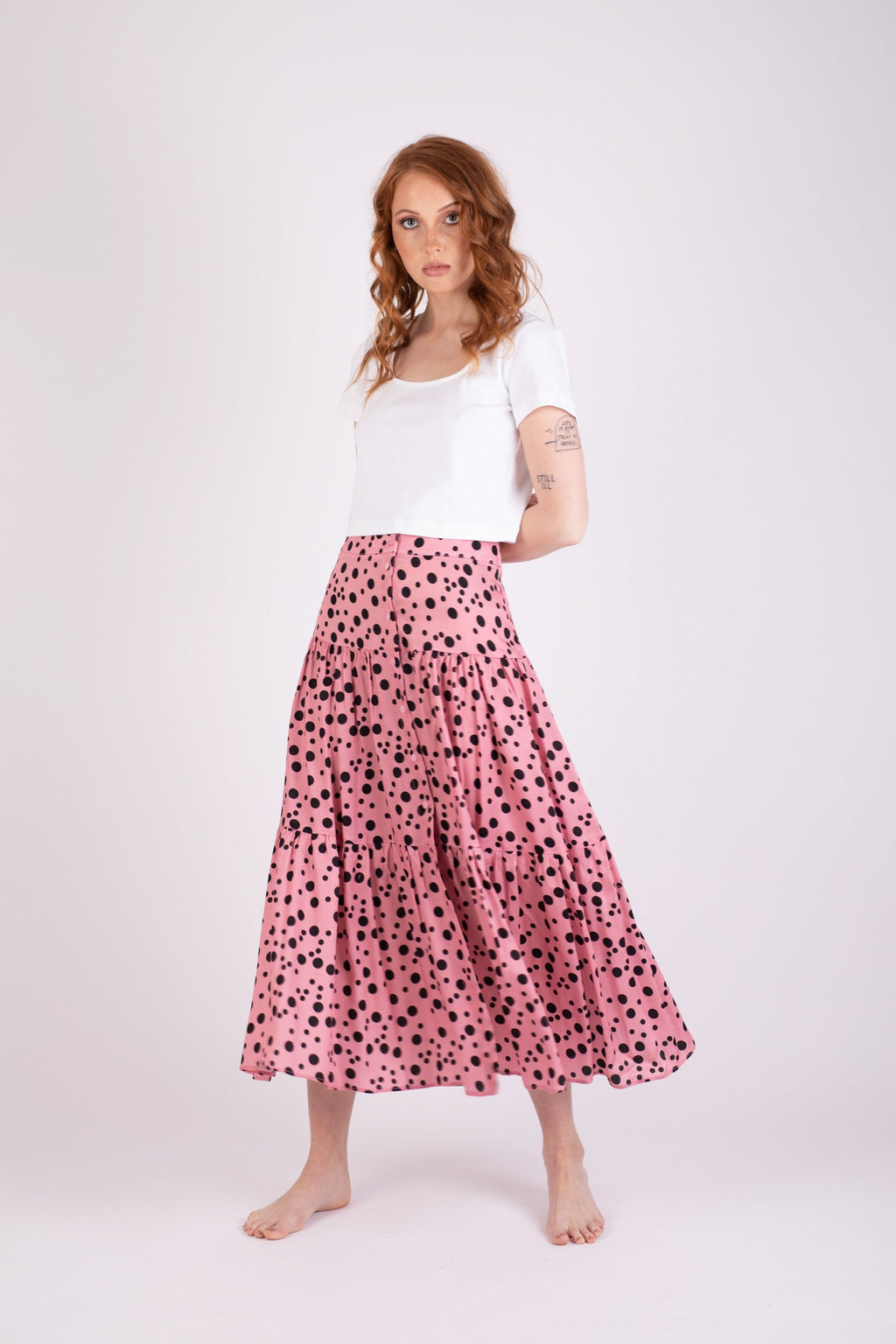Valencia Skirt Pink Random Dot Skirts Ethical Sustainable Vegan Organic Australian fashion womens clothes