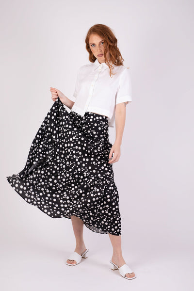 Valencia Skirt Black Random Dot Skirts Ethical Sustainable Vegan Organic Australian fashion womens clothes