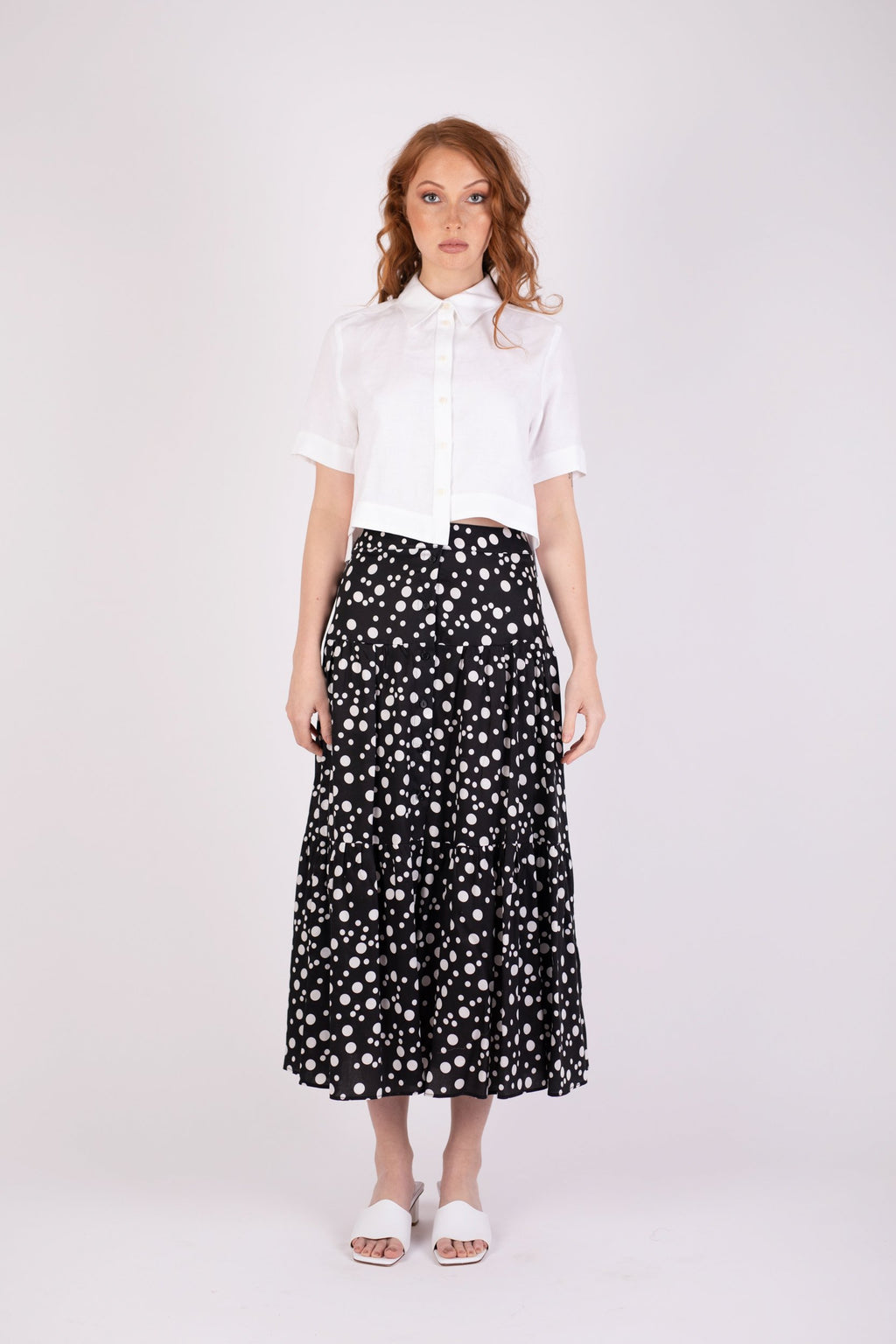 Valencia Skirt Black Random Dot Skirts The Fashion Advocate ethical Australian fashion designer boutique Melbourne sustainable clothes