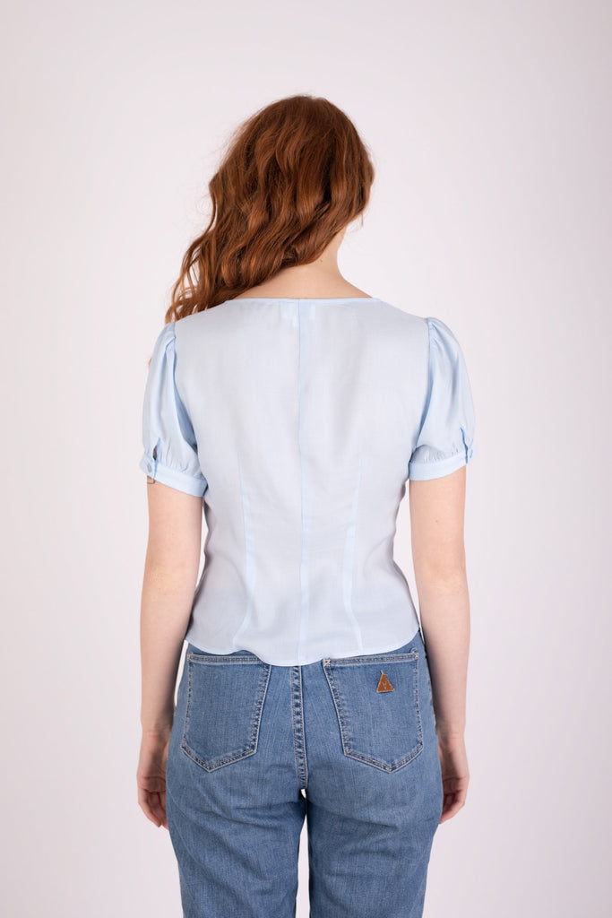 Margot Blouse Icy Blue Shirts + tops The Fashion Advocate ethical Australian fashion designer boutique Melbourne sustainable clothes