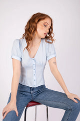 Margot Blouse Icy Blue Shirts + tops Ethical Sustainable Vegan Organic Australian fashion womens clothes