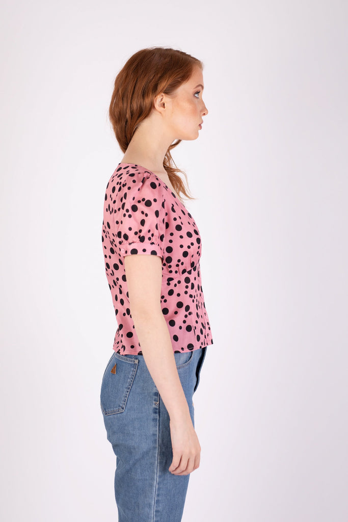 Margot Blouse Pink Random Dot Shirts + tops Ethical Sustainable Vegan Organic Australian fashion womens clothes