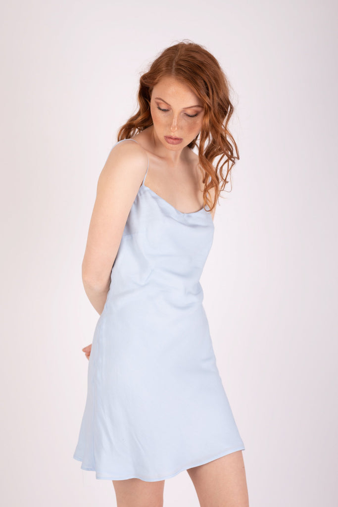 Gia Mini Dress Icy Blue Dresses Ethical Sustainable Vegan Organic Australian fashion womens clothes