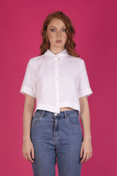 White Becca Shirt Shirts + tops The Fashion Advocate ethical Australian fashion designer boutique Melbourne sustainable clothes