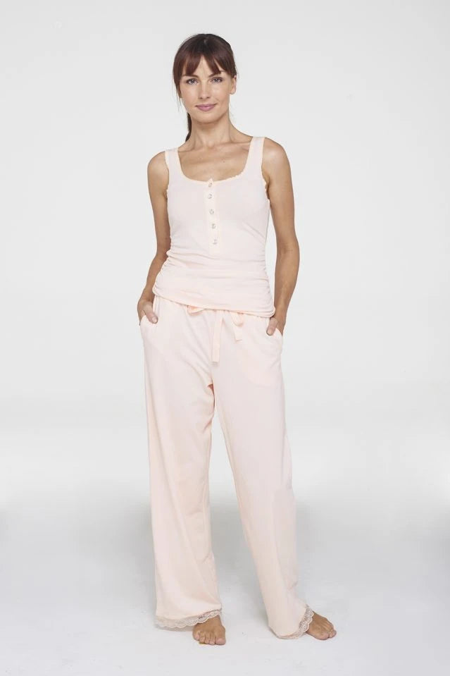 Pink Blush Organic Cotton Drawstring Pant Sleepwear Ethical Sustainable Vegan Organic Australian fashion womens clothes