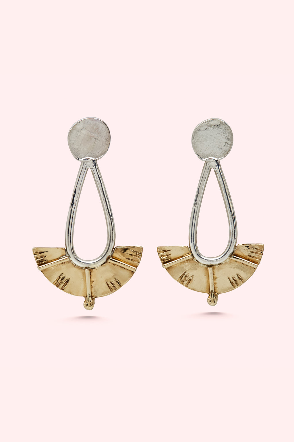 Silver and Brass Juno Drop Earrings Large-Meg Watson Jewellery-THE FASHION ADVOCATE-ethical sustainable Australian womens fashion online