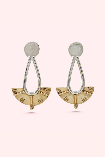 Silver and Brass Juno Drop Earrings Large