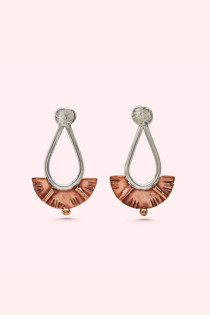 Silver and Bronze Juno Drop Earrings-Meg Watson Jewellery-THE FASHION ADVOCATE-ethical sustainable Australian womens fashion online