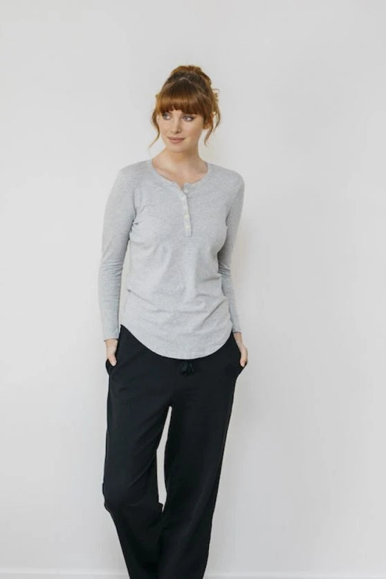Organic Cotton Black Boardwalk Pant Sleepwear Ethical Sustainable Vegan Organic Australian fashion womens clothes