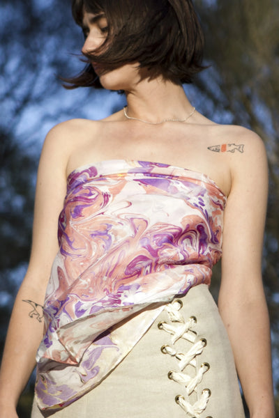 Lilac Haze Silk Scarf Scarves The Fashion Advocate ethical Australian fashion designer boutique Melbourne sustainable clothes