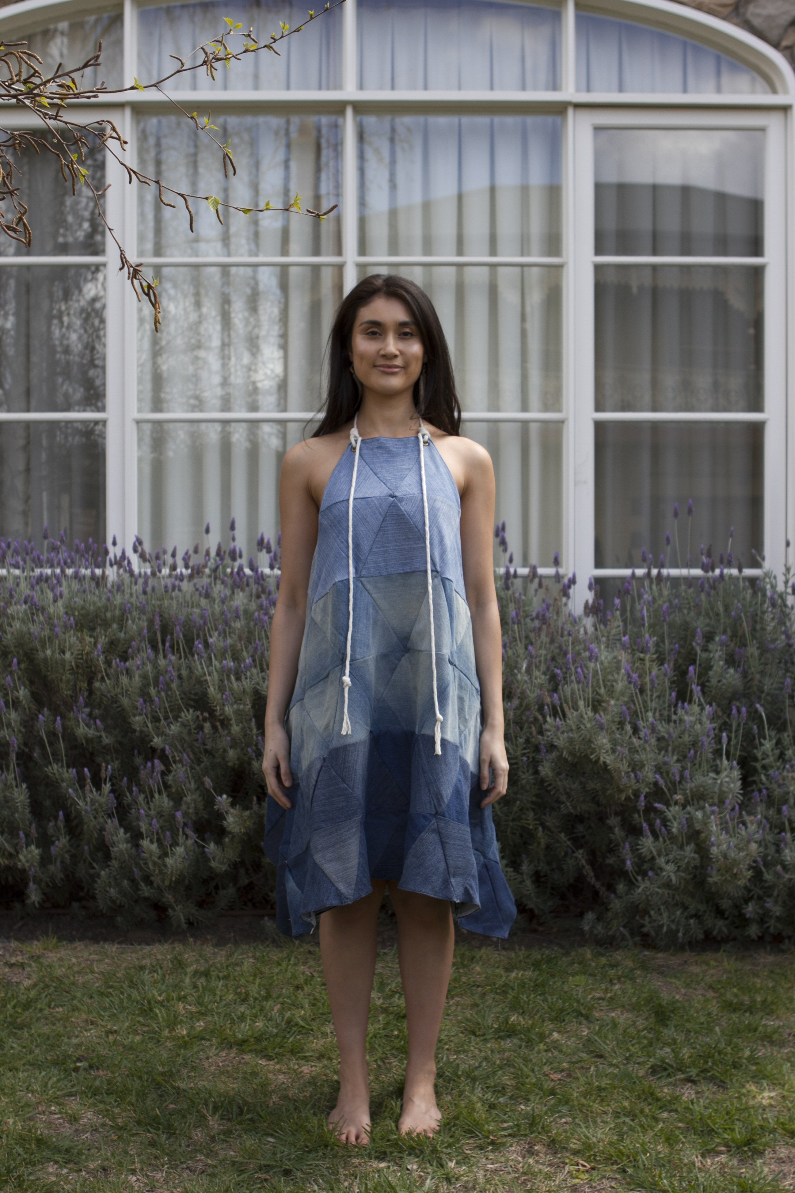 Repurposed Denim Triangle Dress Dresses Ethical Sustainable Vegan Organic Australian fashion womens clothes