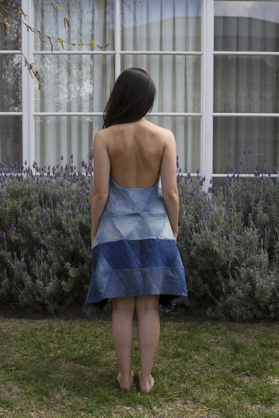 Repurposed Denim Triangle Dress