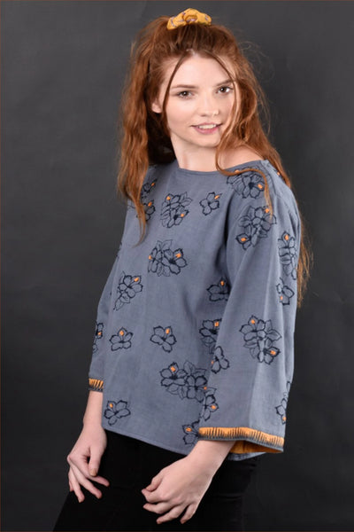 Arabella Floral Embroidered Top Shirts + tops The Fashion Advocate ethical Australian fashion designer boutique Melbourne sustainable clothes