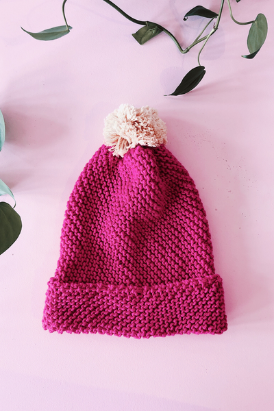 Fuchsia Pink Pom Pom Beanie Beanies Ethical Sustainable Vegan Organic Australian fashion womens clothes