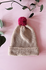Cream Cotton Pom Pom Beanie Beanies Ethical Sustainable Vegan Organic Australian fashion womens clothes