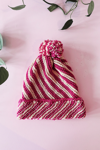 Cream and Pink Cotton Stripe Pom Pom Beanie