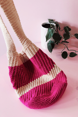 Hand Knitted Cream and Pink Cotton Market Sling Bag