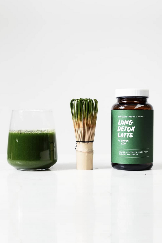 Broccoli Sprout and Matcha Lung Detox Latte Health foods Ethical Sustainable Vegan Organic Australian fashion womens clothes