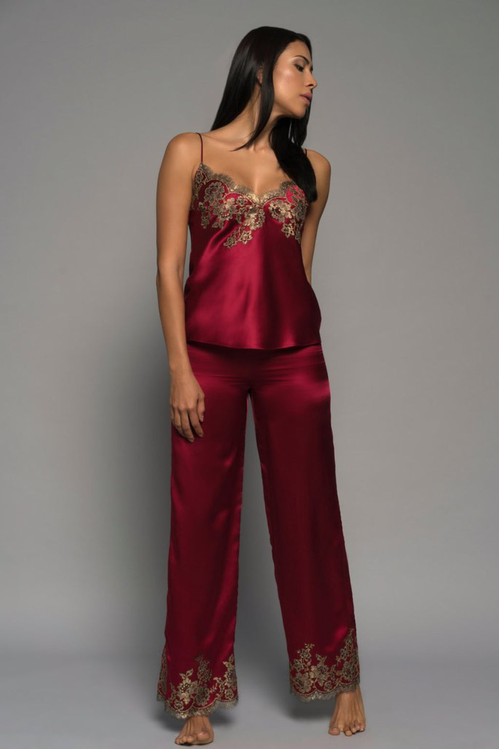 Cherry Gilded Rose Silk Pyjama Pants Sleepwear The Fashion Advocate ethical Australian fashion designer boutique Melbourne sustainable clothes