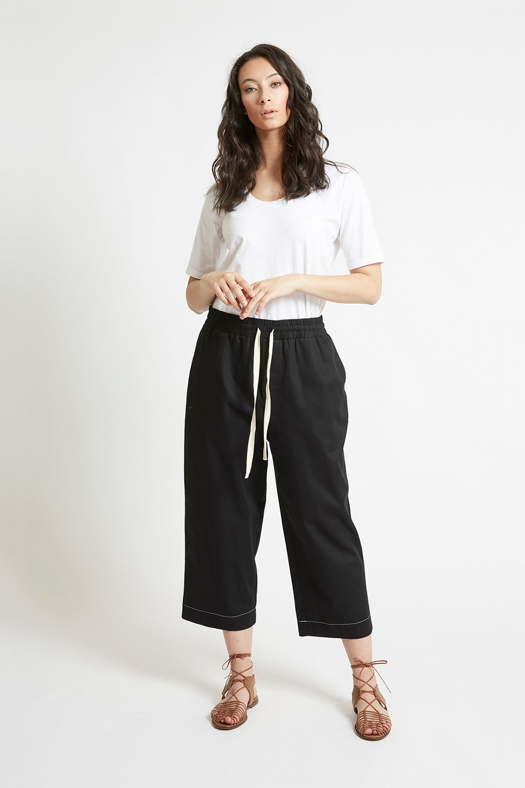 Black Cotton Tapered Pant Pants Ethical Sustainable Vegan Organic Australian fashion womens clothes