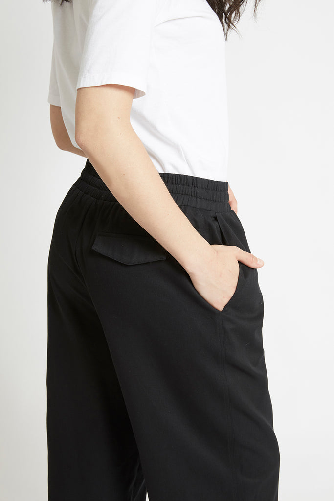 Black Cotton Tapered Pant Pants The Fashion Advocate ethical Australian fashion designer boutique Melbourne sustainable clothes