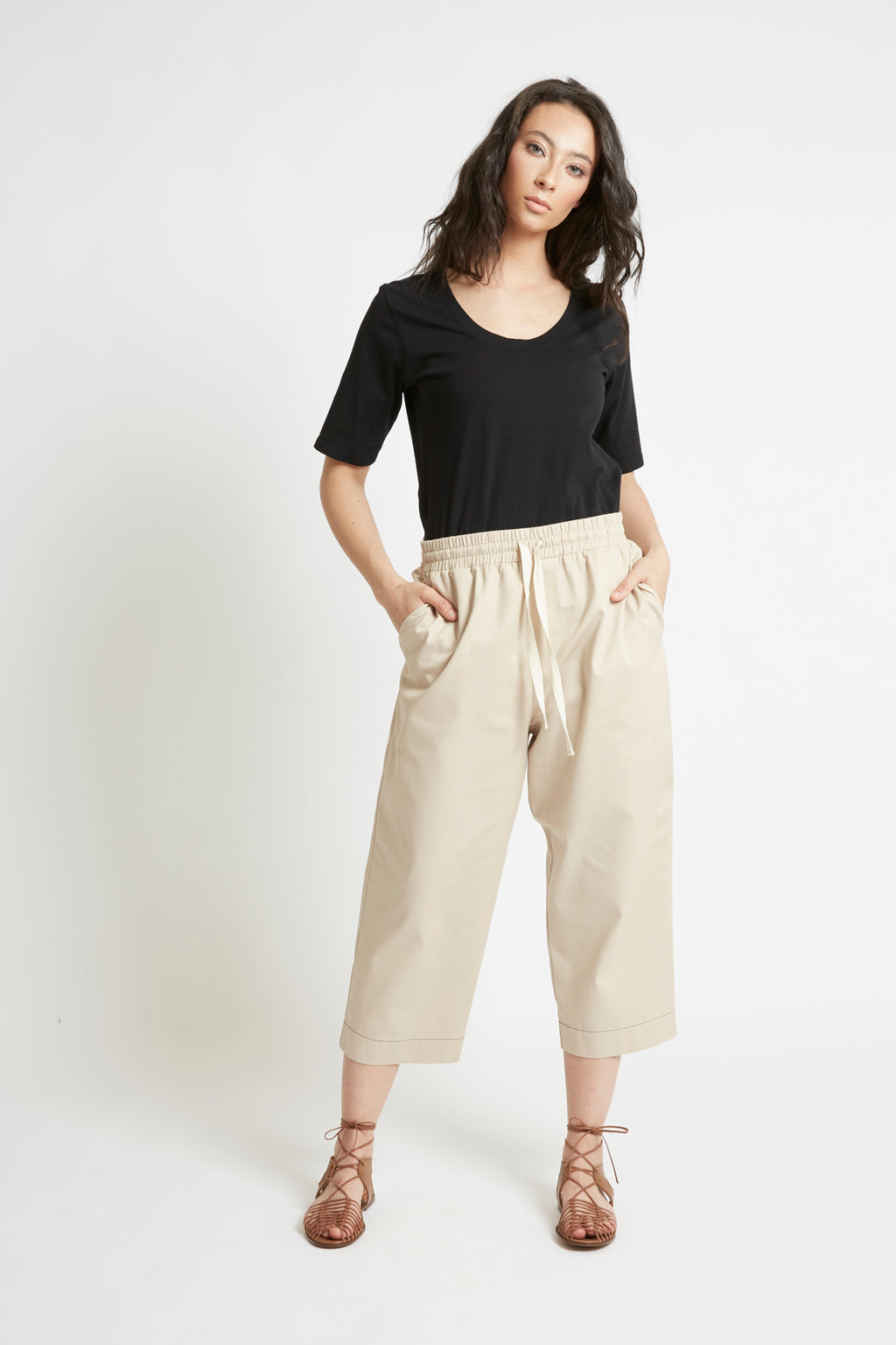 Sand Cotton Tapered Pant-FRSKE-THE FASHION ADVOCATE-ethical sustainable Australian womens fashion online
