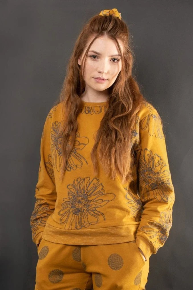 LETICIA EMBROIDERED KNIT SWEATSHIRT TOP Ethical Sustainable Vegan Organic Australian fashion womens clothes