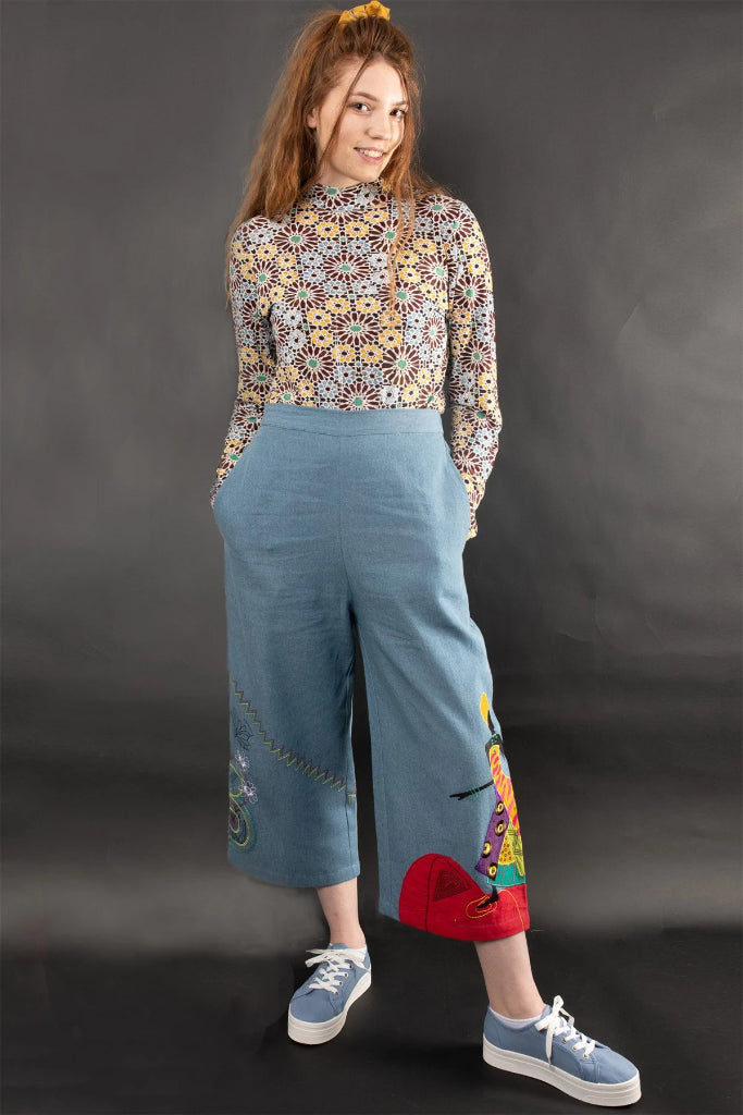 Derora Embroidered Denim High Waist Pants Pants Ethical Sustainable Vegan Organic Australian fashion womens clothes