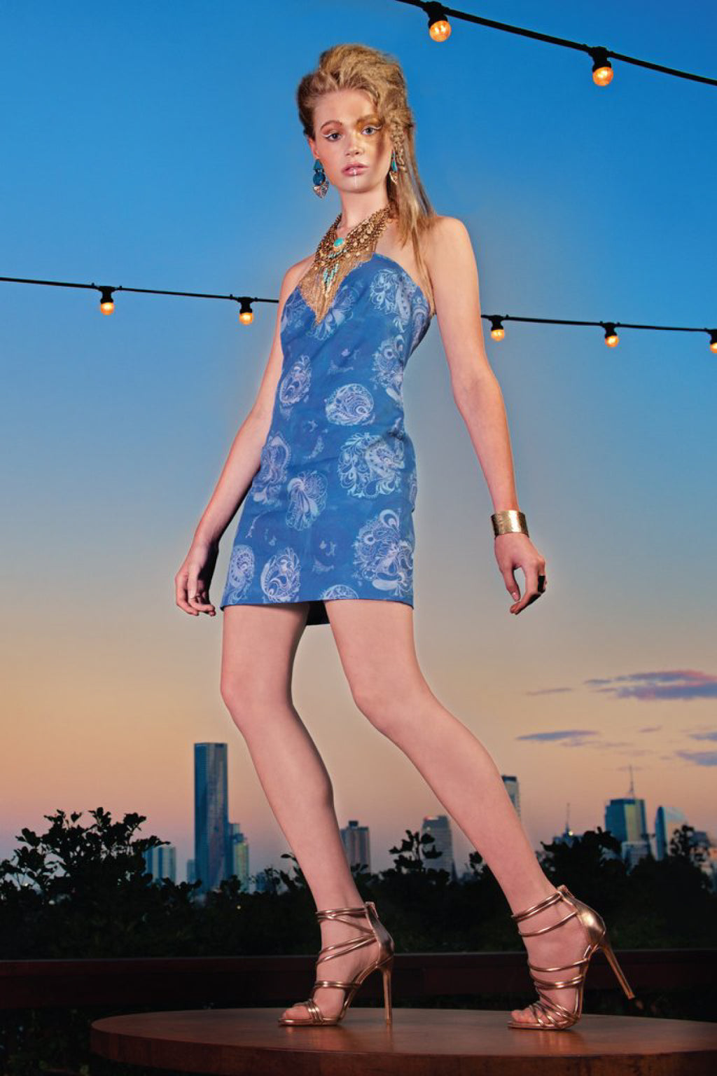 Bright Lights Custom Print Organic Cotton Mini Dress Dresses The Fashion Advocate ethical Australian fashion designer boutique Melbourne sustainable clothes