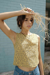 Cropped Cami Ghetto Blocks Gold Shirts + tops Ethical Sustainable Vegan Organic Australian fashion womens clothes