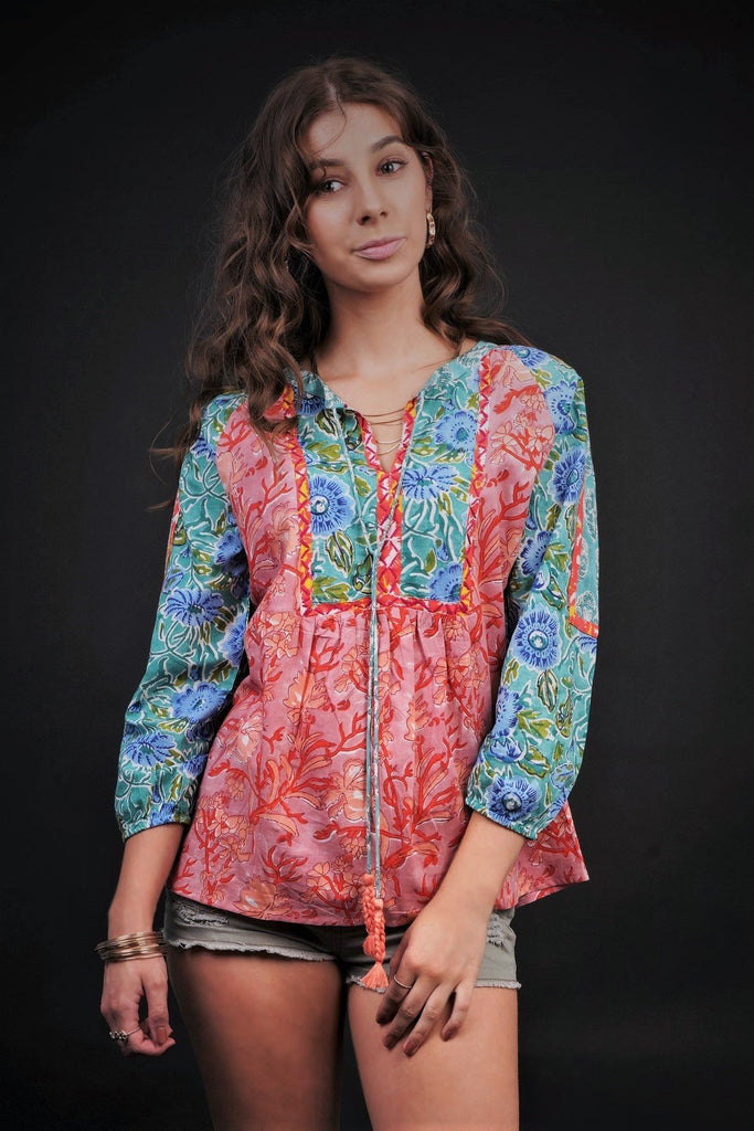 Aleena Floral Patchwork Top