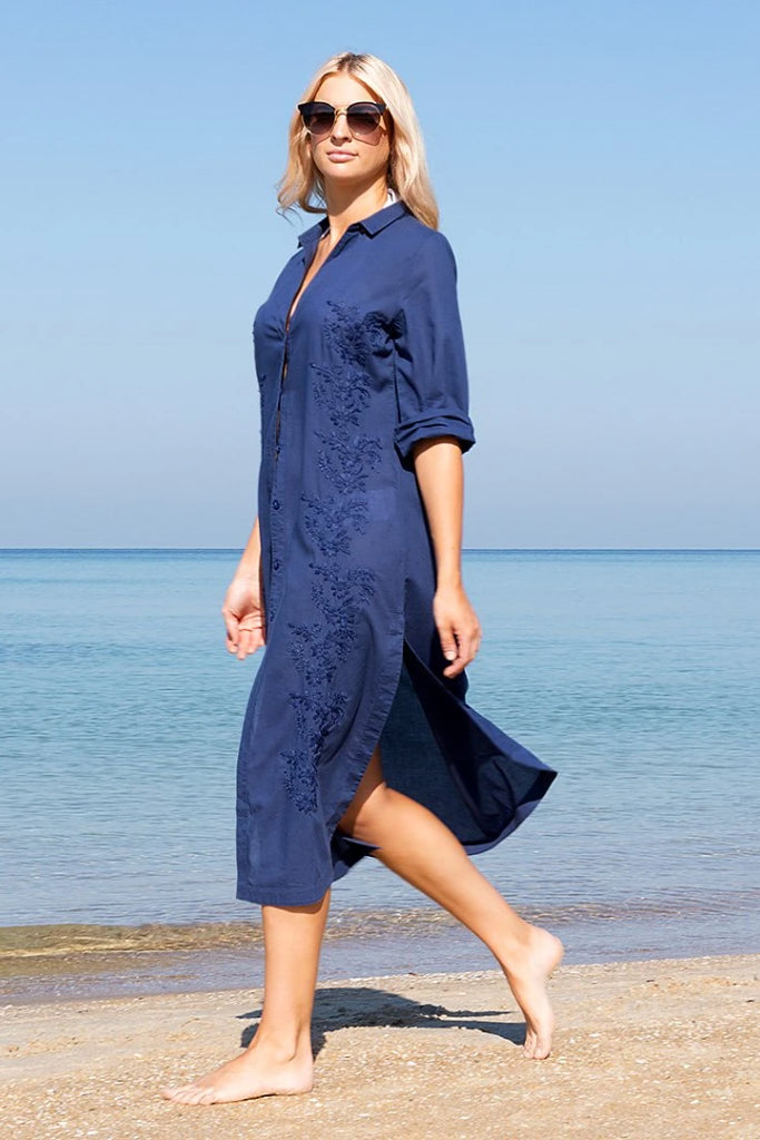 French Navy Embroidered Shirt Dress