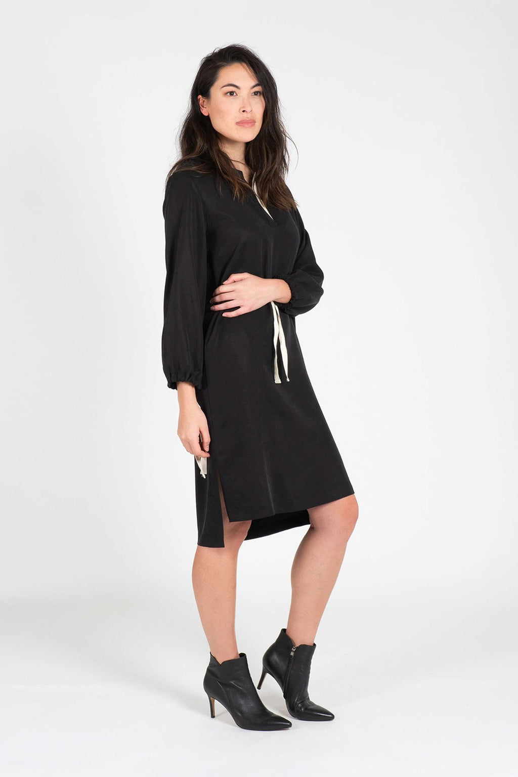 Black Tencel Henley Neck Shift Dress Dresses Ethical Sustainable Vegan Organic Australian fashion womens clothes