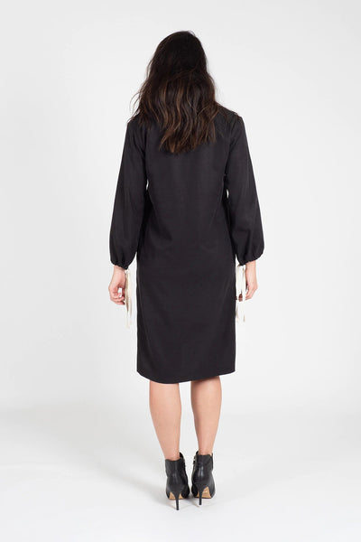 Black Tencel Henley Neck Shift Dress Dresses The Fashion Advocate ethical Australian fashion designer boutique Melbourne sustainable clothes