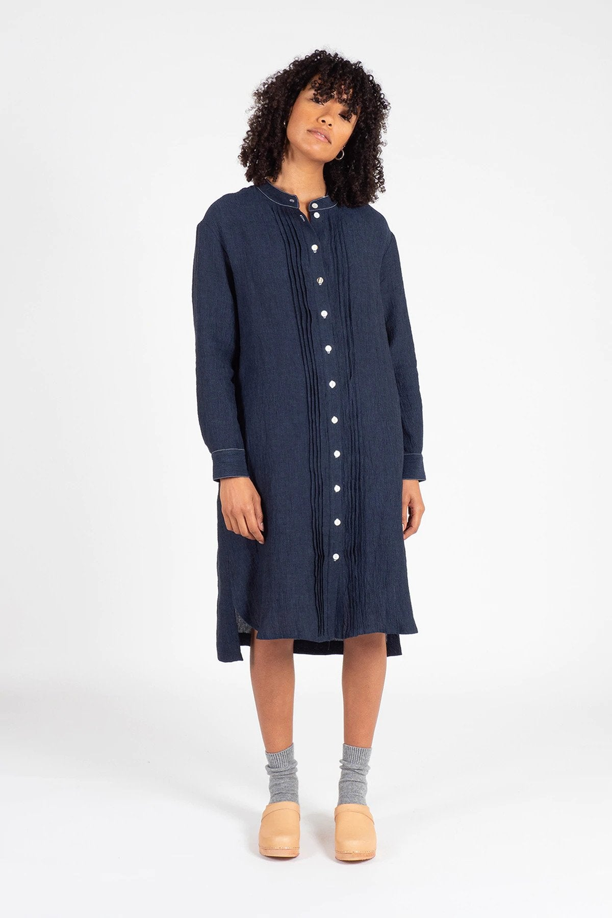 Navy Linen Shirt Dress Dresses Ethical Sustainable Vegan Organic Australian fashion womens clothes