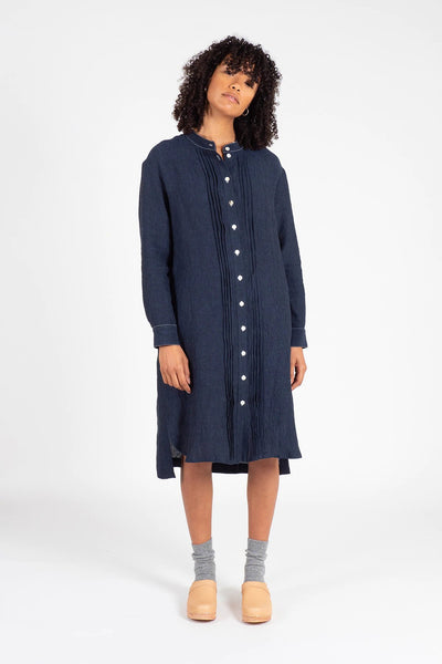 Navy Linen Shirt Dress