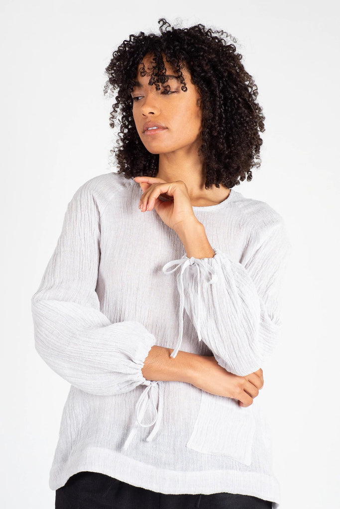 Silver Linen Raglan Sleeve Top Shirts + tops Ethical Sustainable Vegan Organic Australian fashion womens clothes