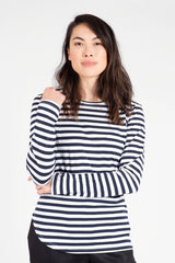 Navy and White Cotton Crew Neck Long Sleeve T-Shirt Shirts + tops Ethical Sustainable Vegan Organic Australian fashion womens clothes